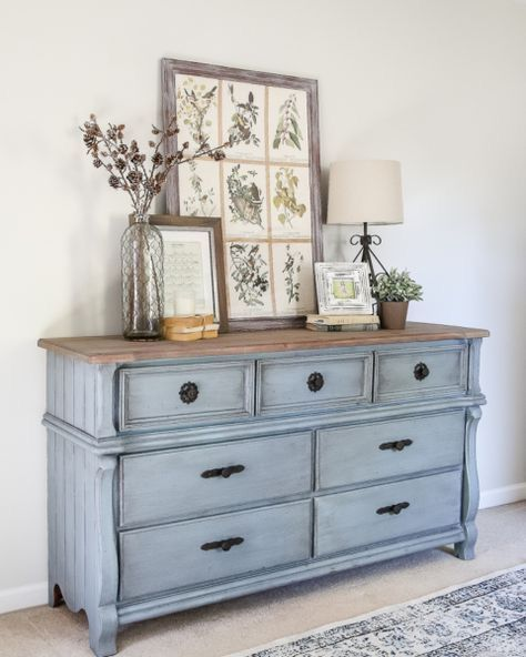 Best Chalk Painted Dresser Chest In French Blue With Sanded Oak 640 x 480