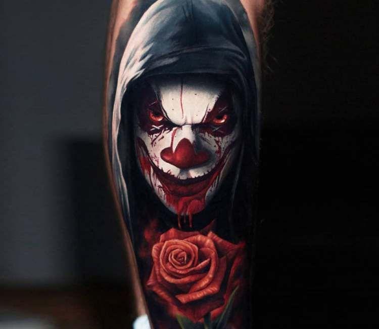 Creepy Clown Tattoo By Alexander Kolbasov