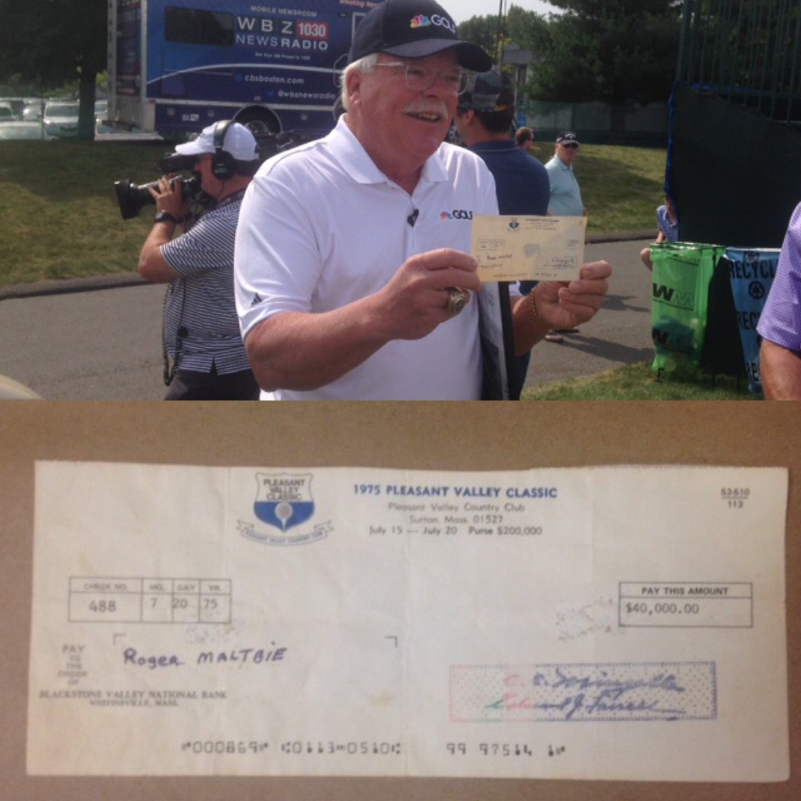 When Roger Maltbie lost this $40K winner's check in 1975, it was presumably gone forever.  Fast-forward to today!