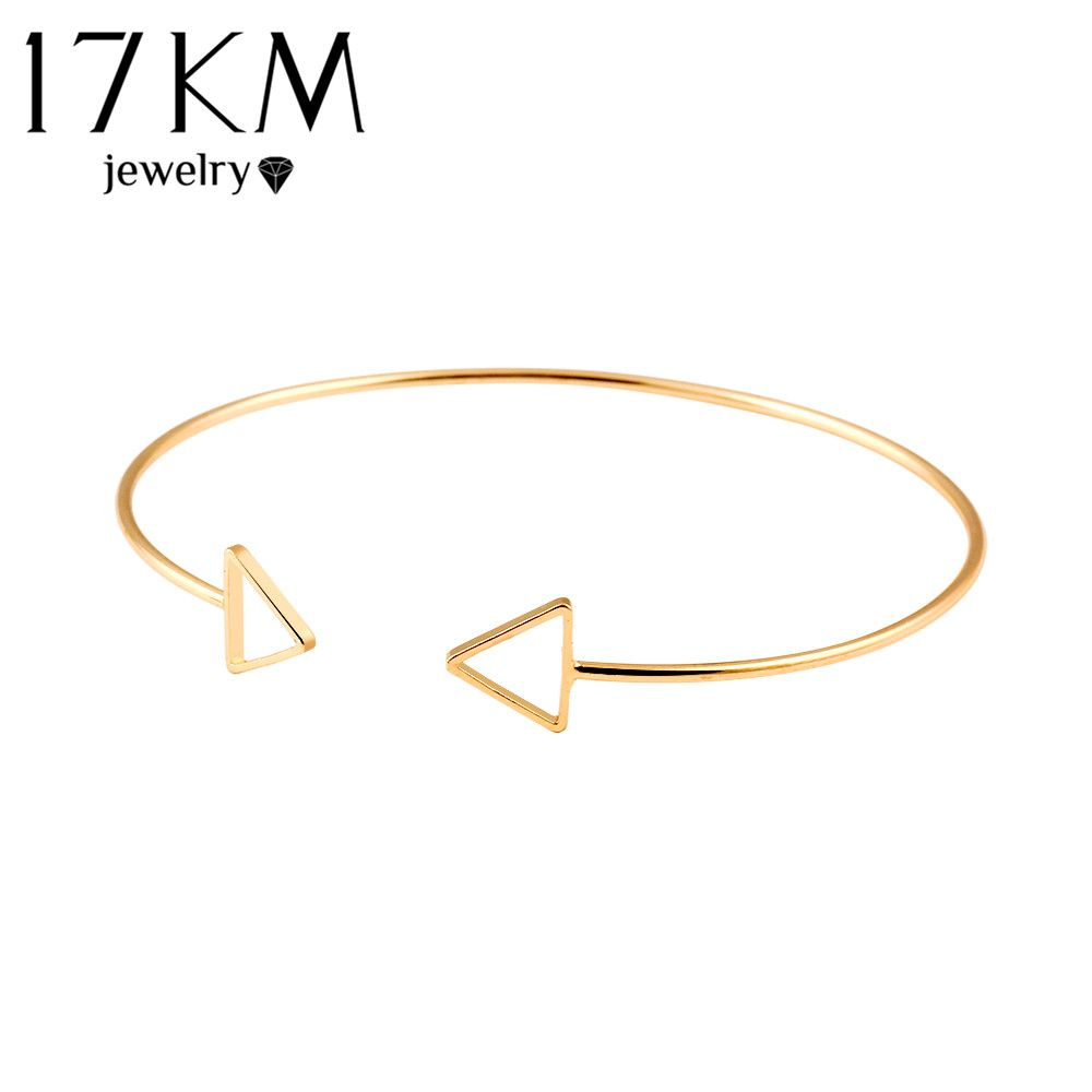 Km trendy geometric double triangle bangle alloy gold color