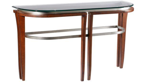 Bassett Mirror Fusion Fusion Glass Top Crescent Sofa Table Jordan S Furniture Mirrored Sofa Table Console Table Wood Glass