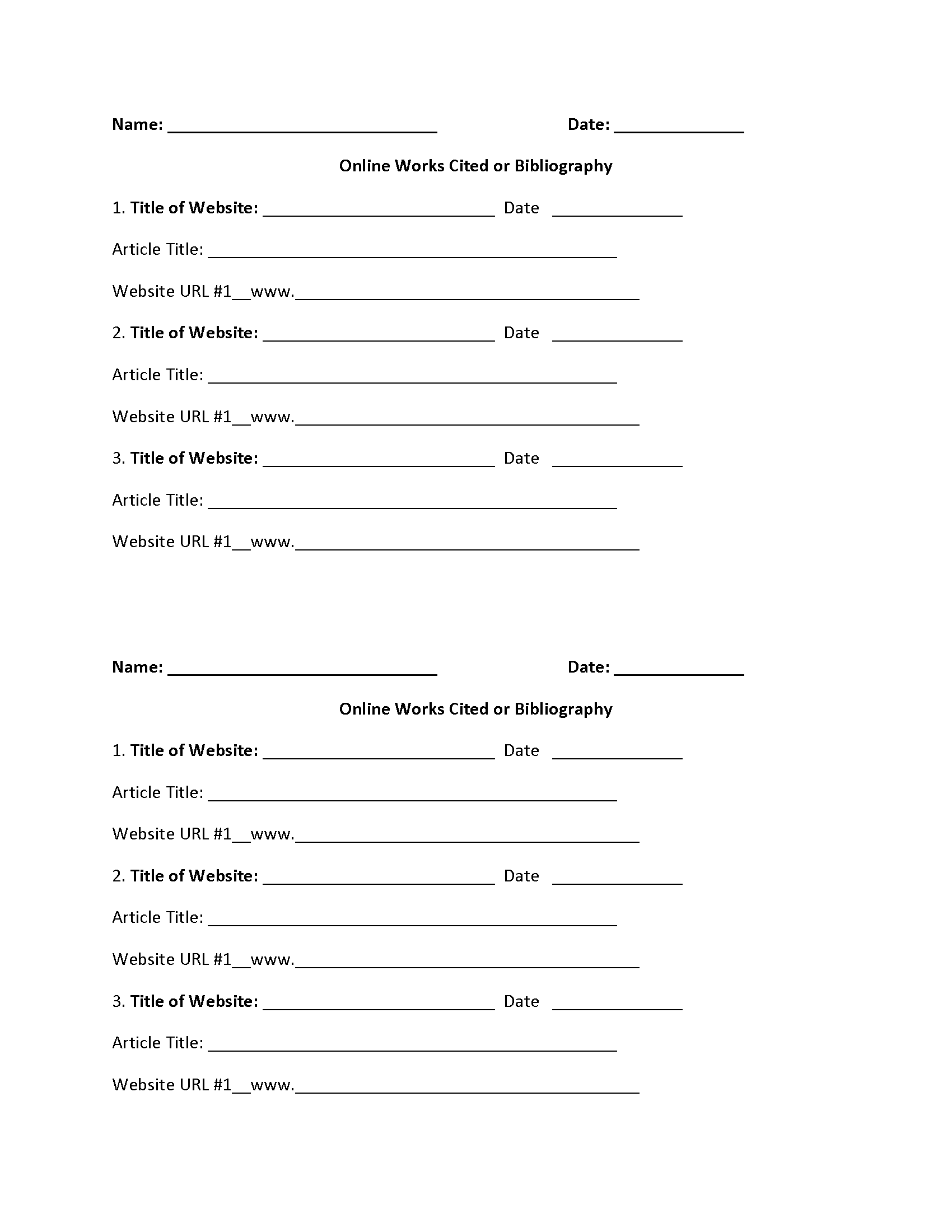 Online Article Works Cited Worksheet – Online Worksheets