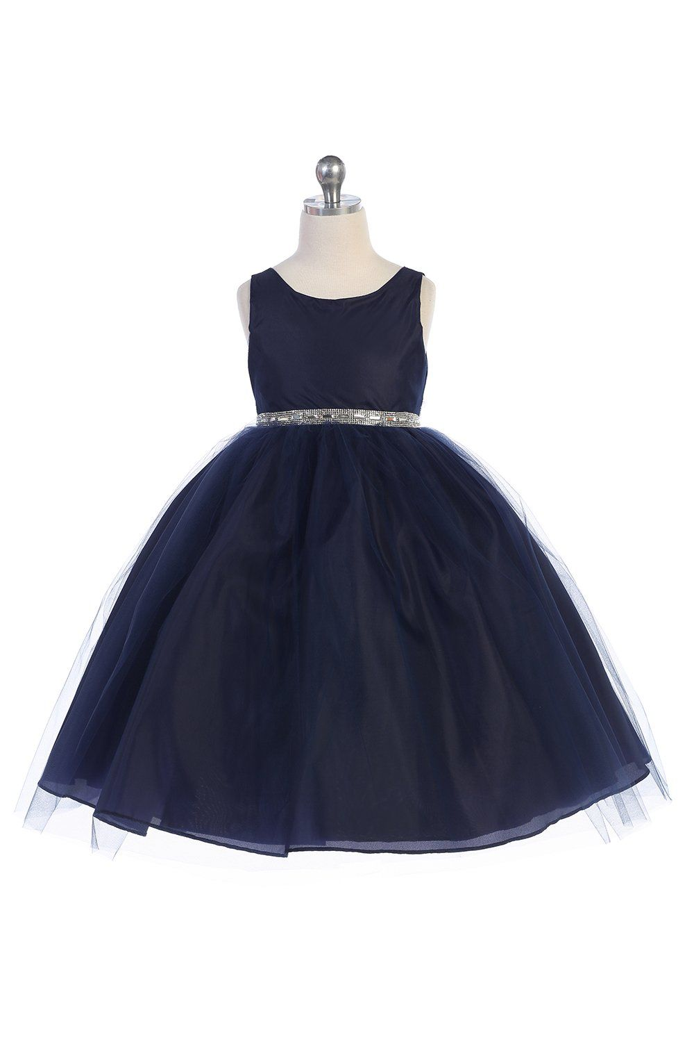 b7a27e3393ae Navy Blue Satin Bodice Flower Girl Dress with Overlay Tulle Skirt ...