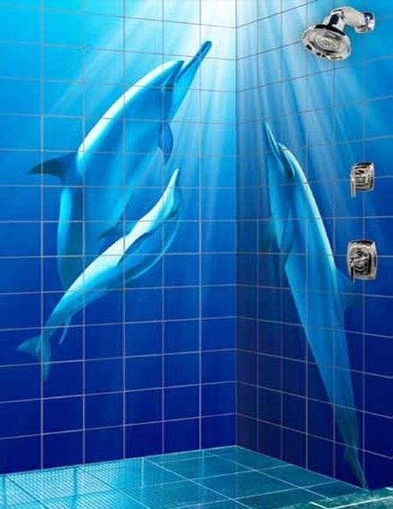 Picture Of Bathrooms With Dolphins Murals Kb Resource Is Owned And Operated By Interline Creative Group Learn Dolphin Decor Glass Tile Shower Dolphins