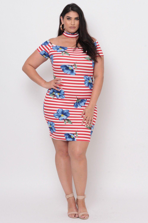 Plus Size Floral Bodycon Stripe Dress - Red