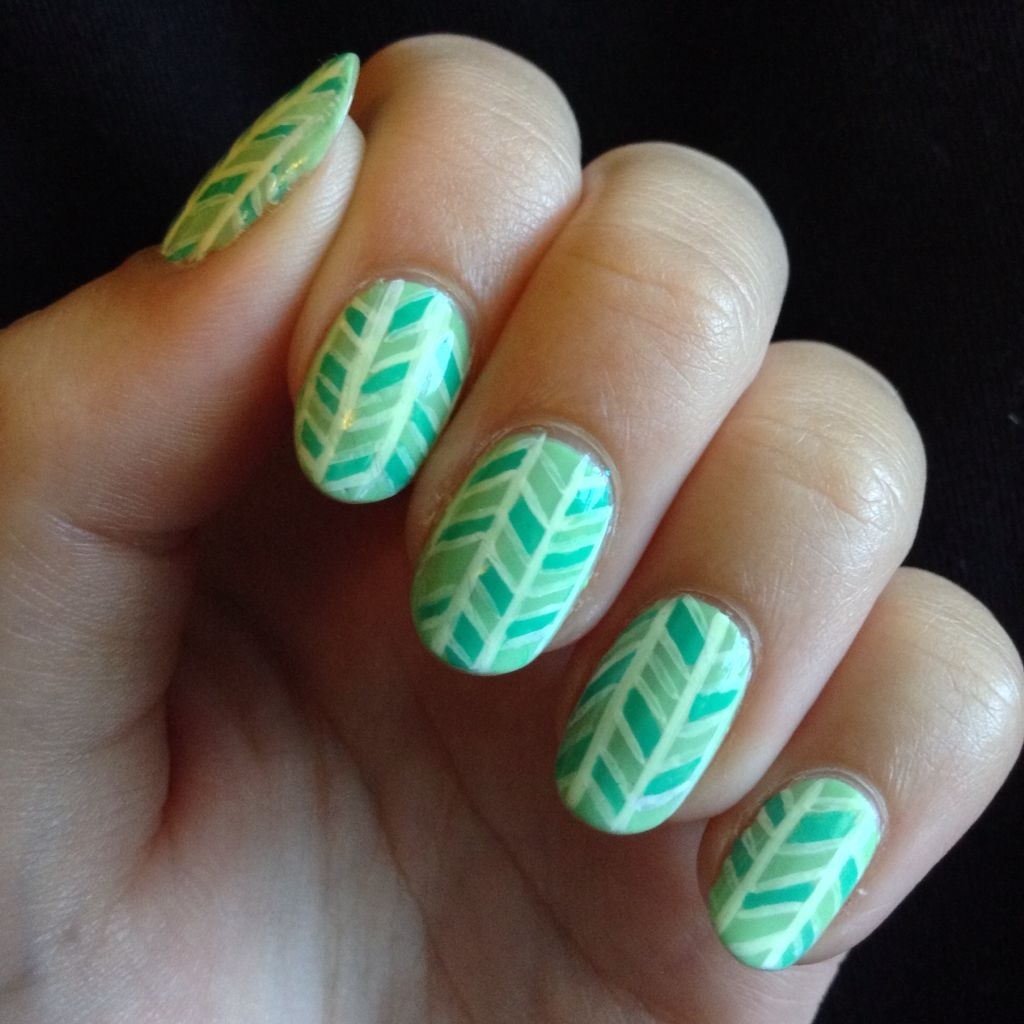 Green Herringbone Nails My Nails Pinterest Herringbone