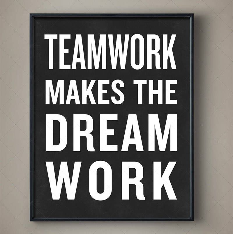 Motivational Quotes For Sports Teams: TEAMWORK MAKES THE DREAM WORK Typography Poster #CrossFit