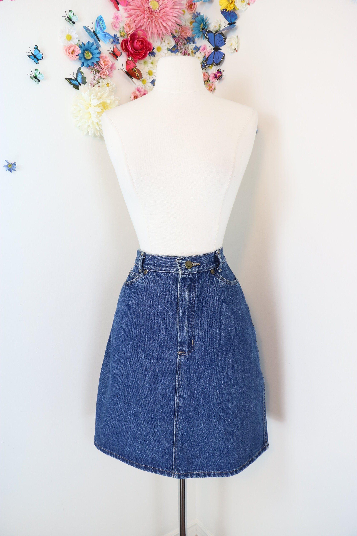 Vintage 80s Super Chic Denim Circle Party Jean Skirt A line size Medium