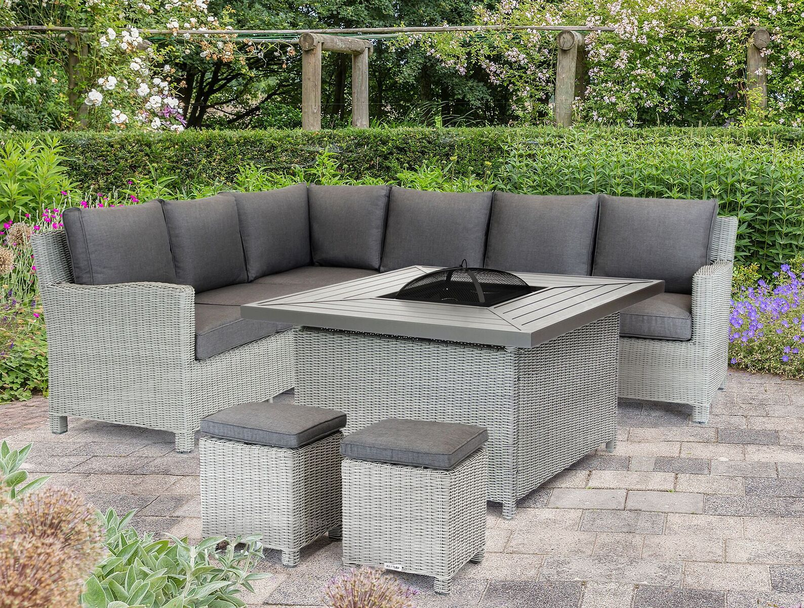 Be The Envy Of Others With This Beautiful Furniture Set Complete With Fire Pit By Palma Frosts Palm Corner Sofa Set Rattan Corner Sofa Outdoor Furniture Sets