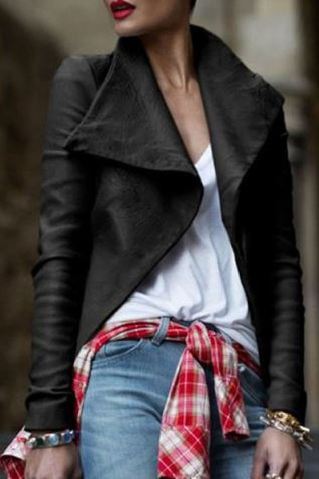 Love the Red Plaid Shirt Tied through the belt loops! Fashionable Black Turn-Down Collar PU Leather Coat For Women #Red #Plaid #Moto #Jacket #Jeans #Fall #Fashion #Outfit #Styling #Ideas