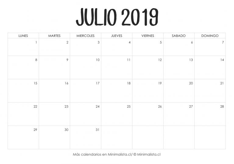 Calendario Mr Wonderful Julio 2019.Calendario Julio 2019 Para Imprimir Calendario 2019