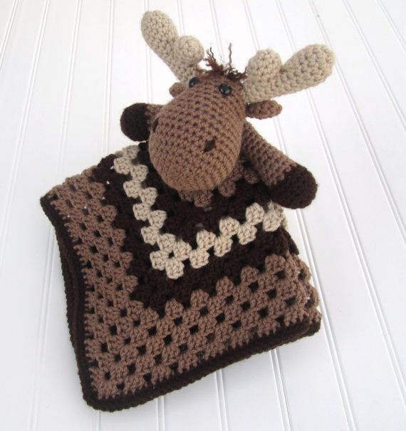 CUSTOM Crochet Moose Lovey Security Blanket | Manta y Tejido