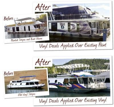 House Boat Graphics A Boat Before And A Boat After Application - Vinyl boat graphics decalsboat graphics hull graphics boat stickers stickers wraps boat