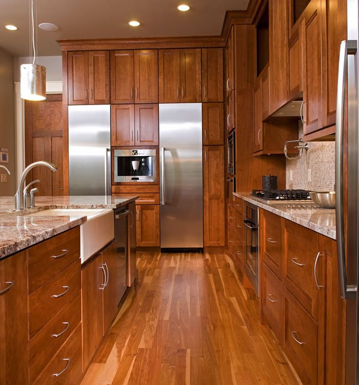 red birch hardwood floors are warm and forgiving - Birch Kitchen Design