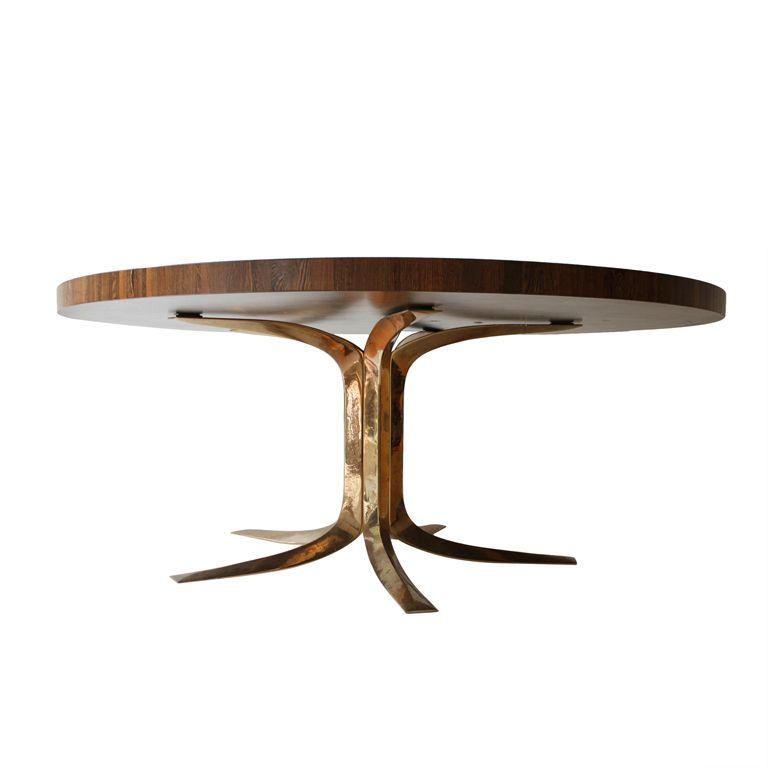 Eetkamer Tafel Wenge.1968 Jules Wabbes Bronze Wenge End Grain Desk Dining Table