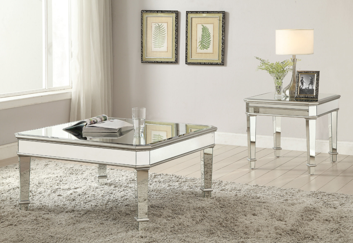 703938 Silver Mirrored Coffee Table Set Savvy Discount Furniture