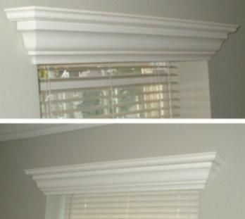 Hide A Blind Wood Crown Molding Valance I Like These Window Cornices