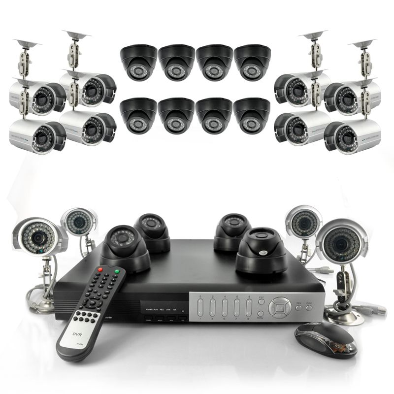 Complete surveillance kit with 12 indoor dome cameras, 12 outdoor ...