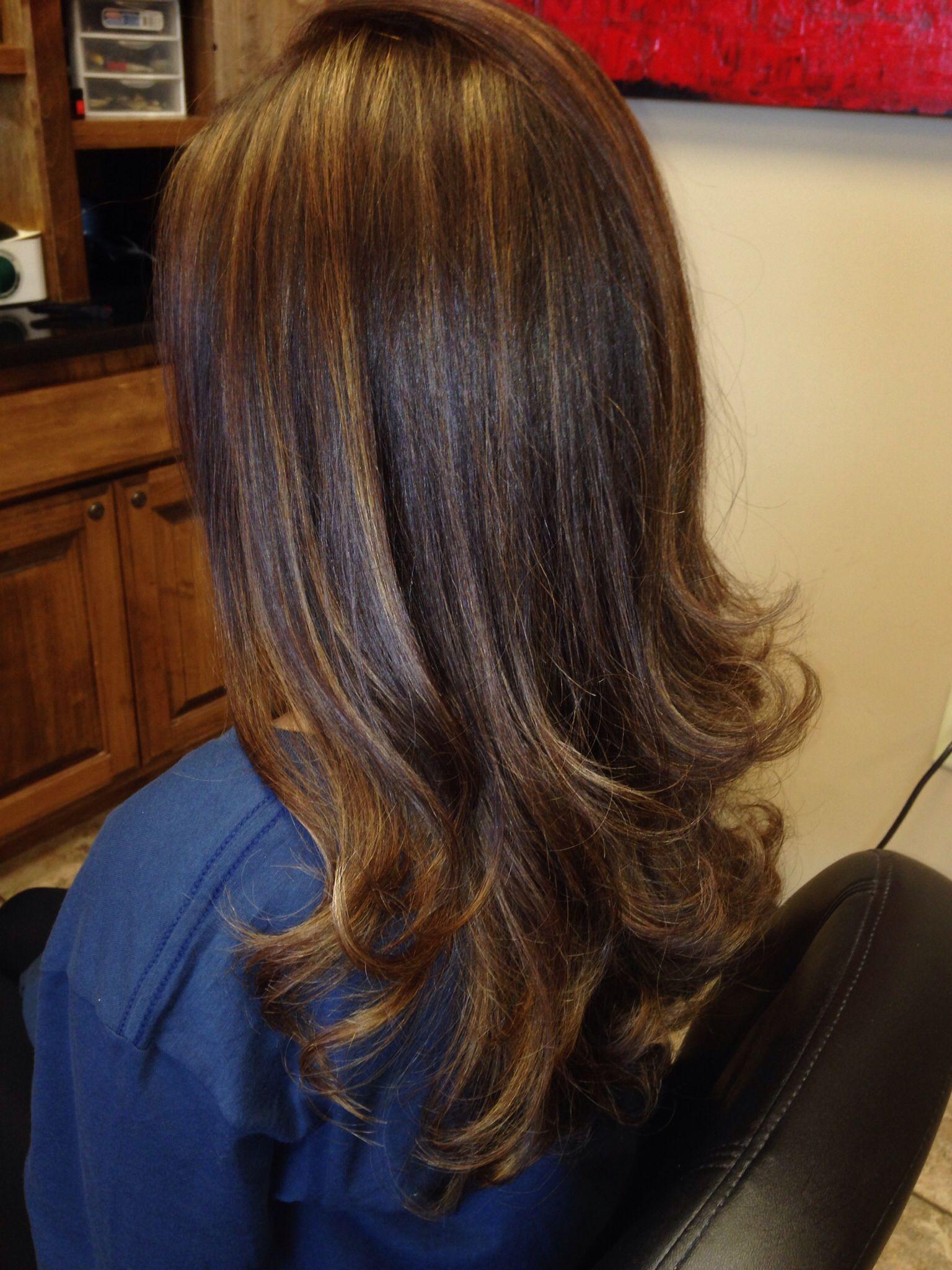 straight hair, with carmel highlights. | beauty | hair, hair