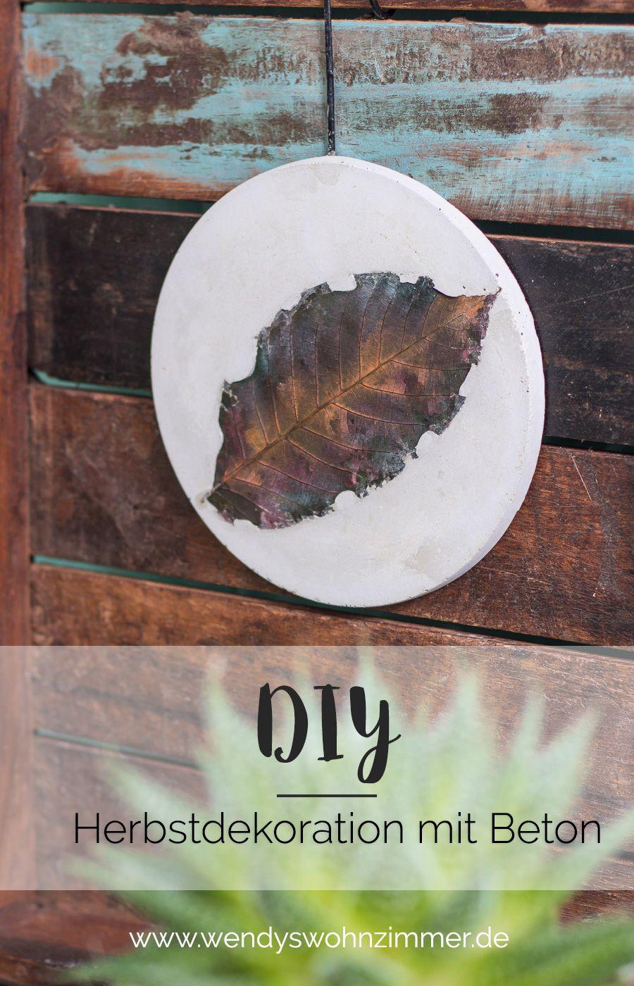 DIY Idee mit Beton - Herbstdeko mit Blättern selber machen! DIY Blog ...