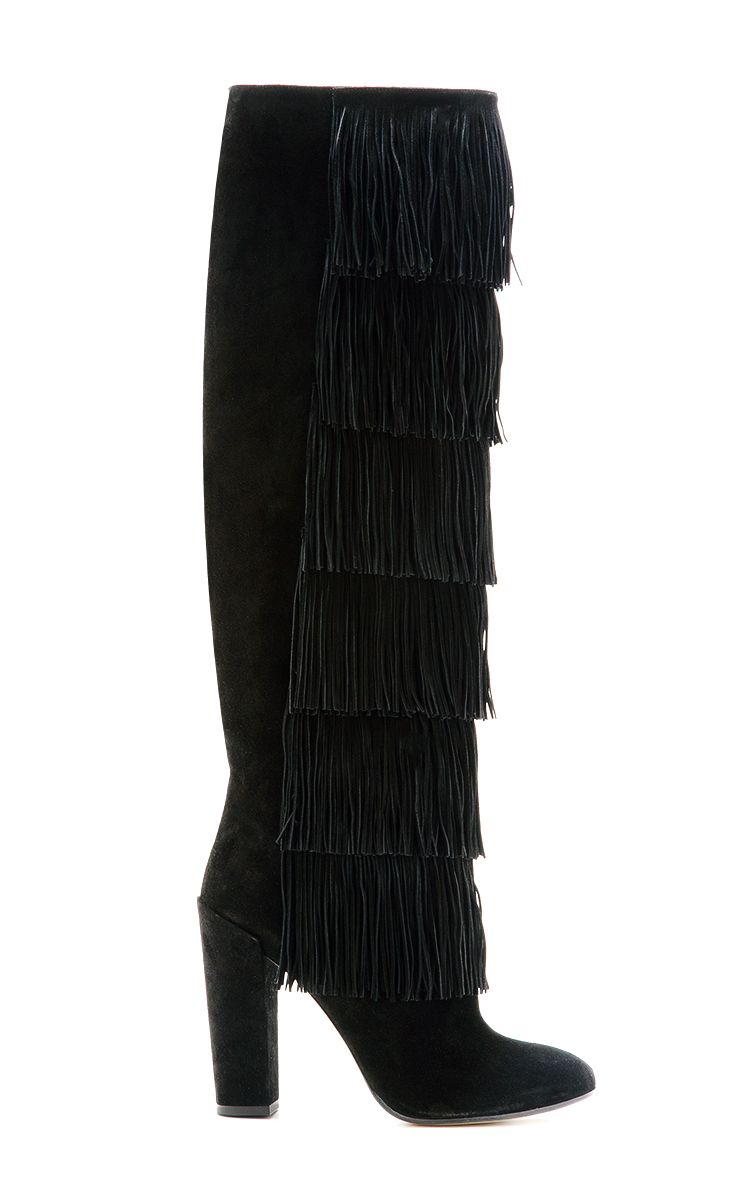 Tara Knee-High Fringed Suede Boots by Paul Andrew - Moda Operandi