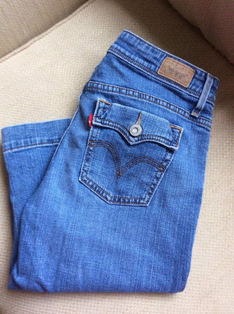 d88932bab469 Women s Levi s 515 Capris Skimmers Jeans Petite Size 4P Cuffs Flap Pockets  Blue  Levis515  CapriCroppedSkimmersPedalPushersCapriCropped