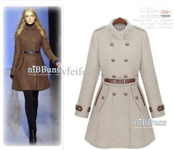Fashion Korean Women's Coat Double-breasted Military Style Wool ...