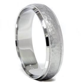 tiffany mens wedding bands Hammered Mens Solid White Gold Comfort