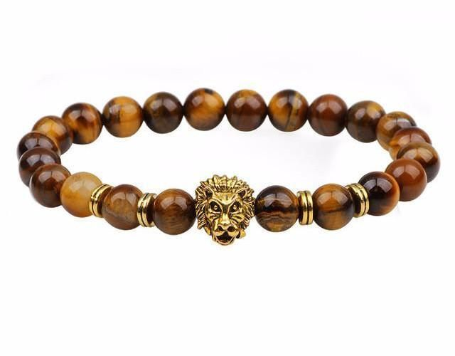 Natural Stone Beads & Lion Head Bracelet