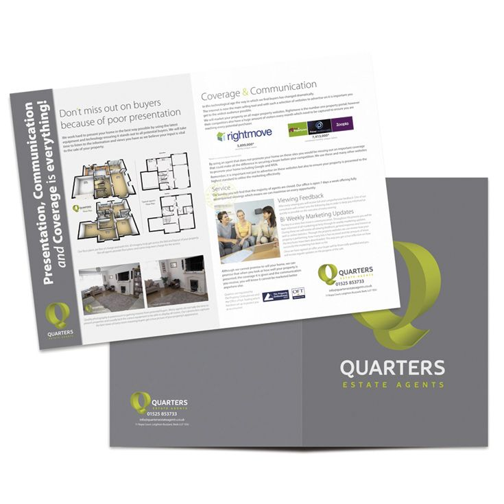 Ref: 2388 Adapted from our basic 4 page estate agent folder without flaps,  this variation provides provision to hold a business card