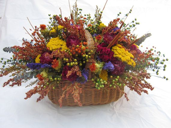 Extra Large Fall Basket Arrangement Colorful Dried Flowers On Etsy 85 00