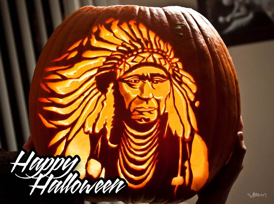 pumpkin carvings Indian Native American Pumpkin