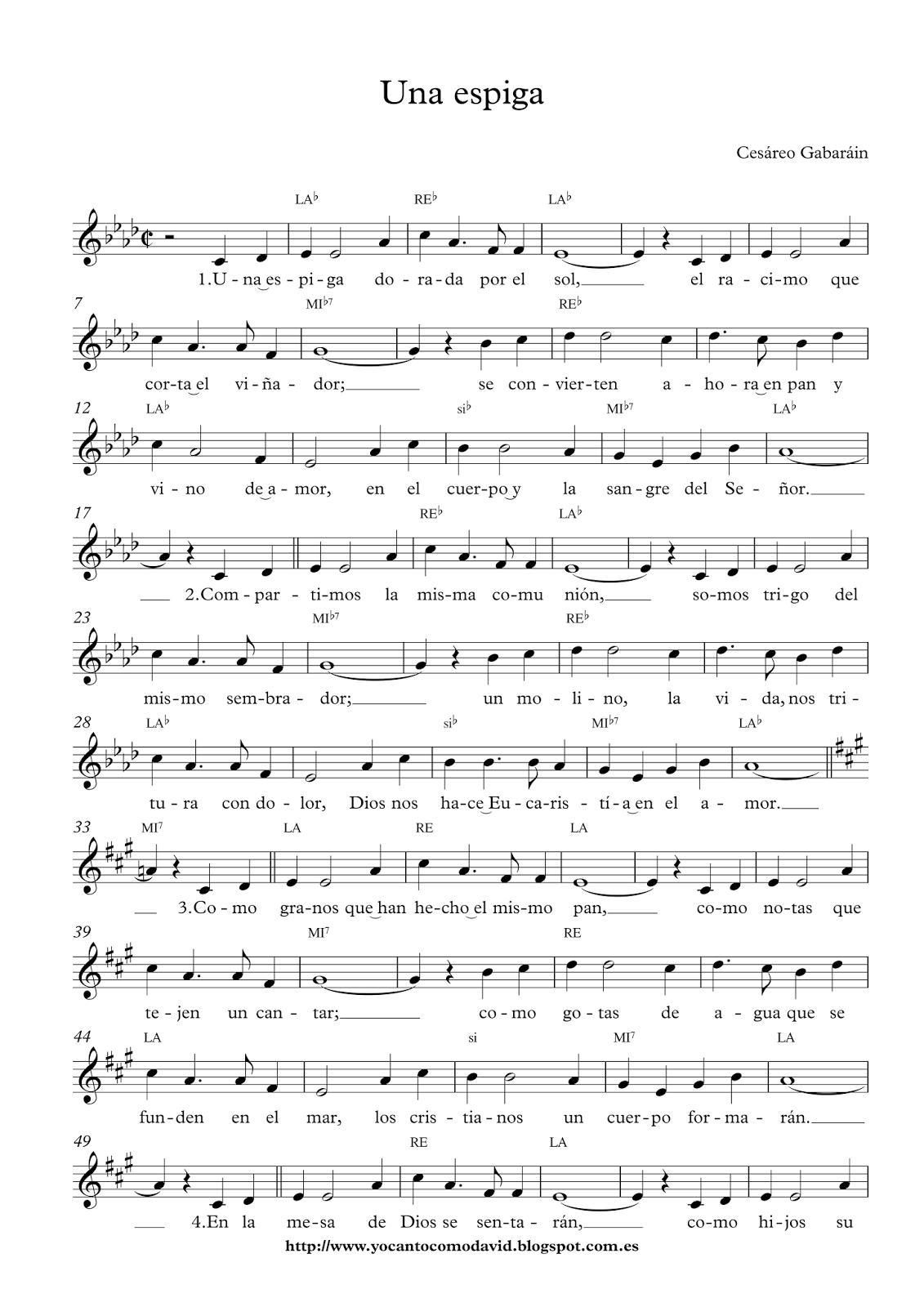 Una Espiga Yo Canto Como David Partituras De Canciones Lecciones De Piano Partituras