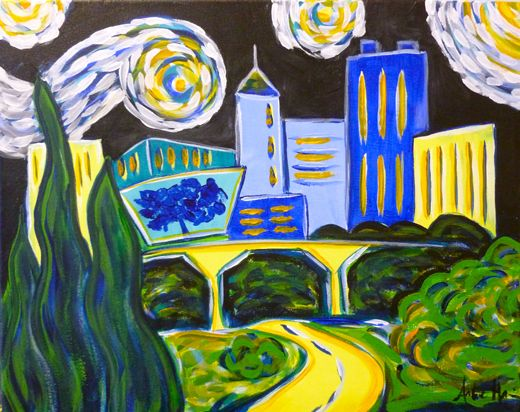 Raleigh Starry Night Skyline At Wine And Design In Cary Nc How To