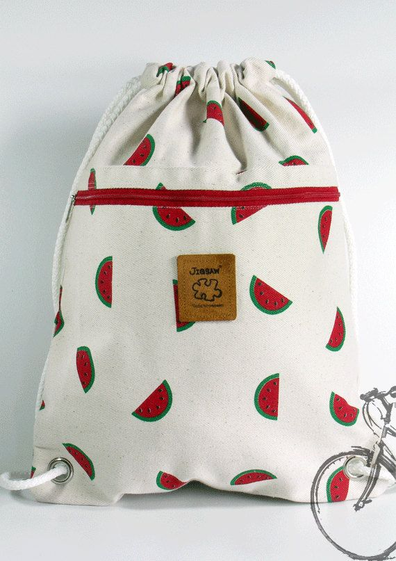 Watermelon Backpack Canvas Cotton drawstring Hip bag Handmade bag ...
