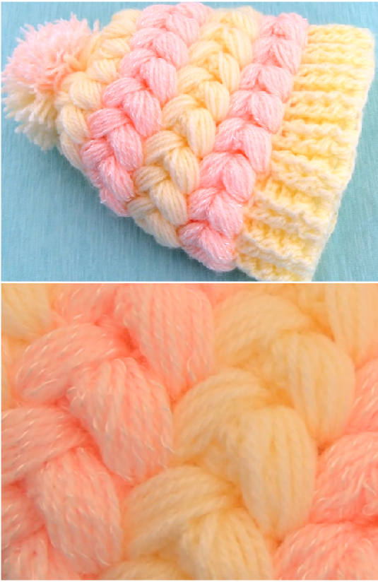 puff braids 3 d hat | Crochet | Pinterest | Escarpines, Gorros y Bordado