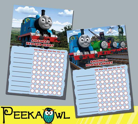 Printable thomas the train theme personalized behavior chart reward