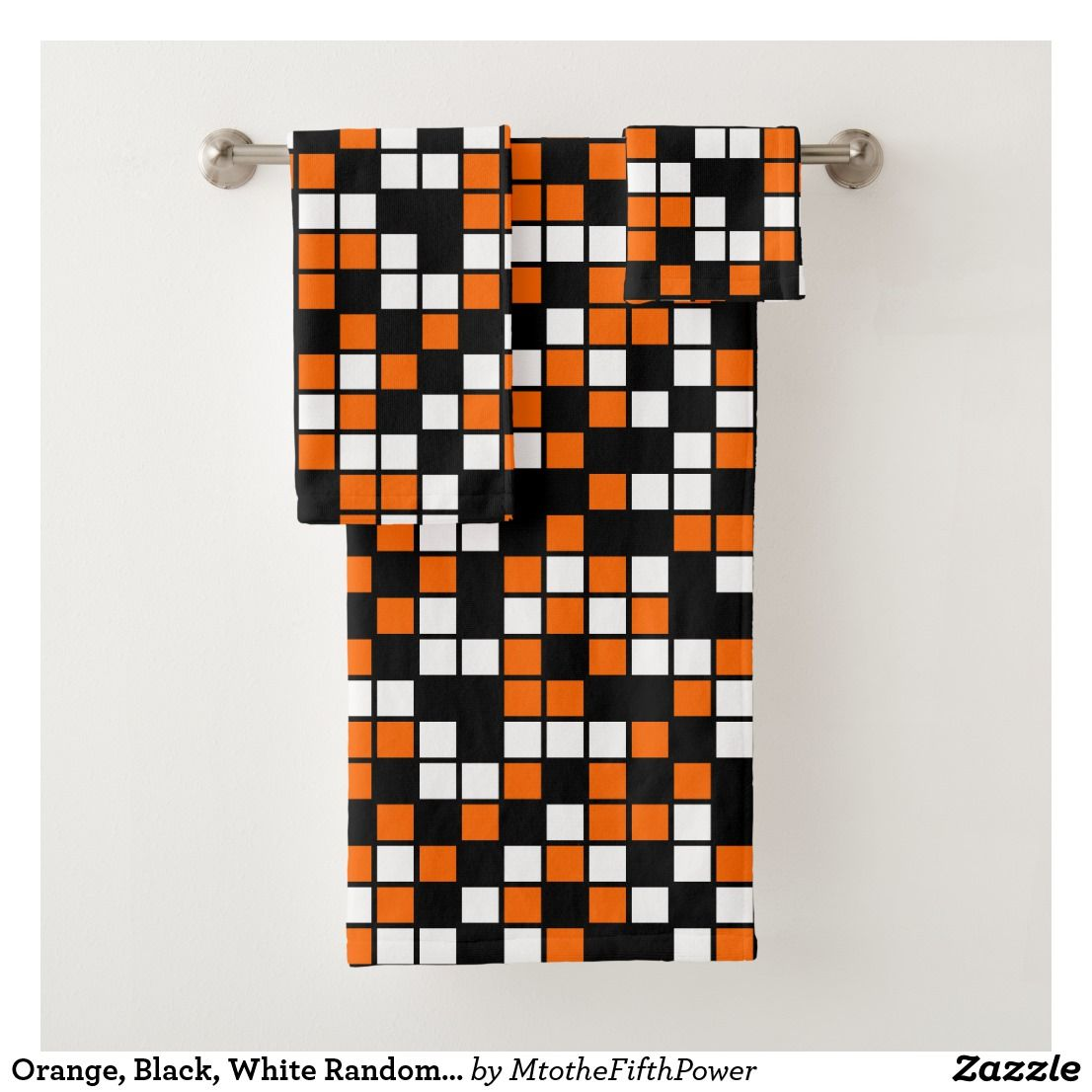 Orange Black White Random Mosaic Squares Bath Towel Set Zazzle