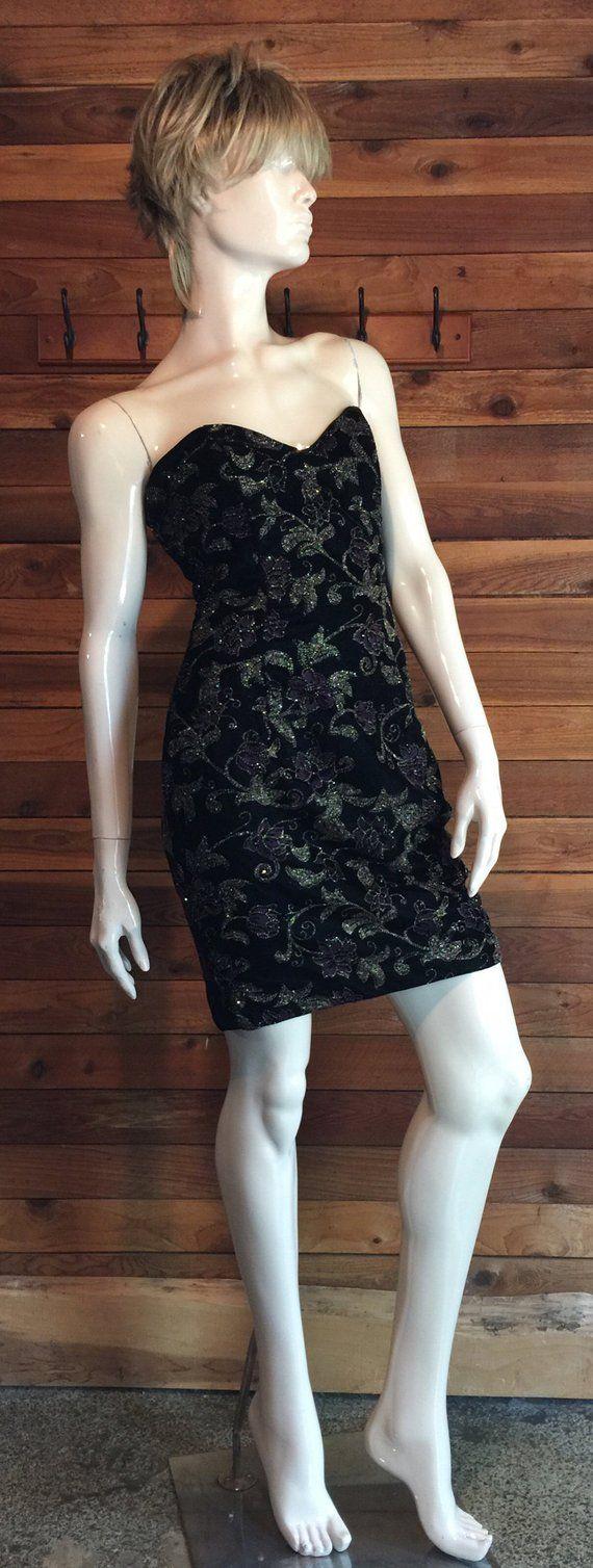 Vintage jessica mcclintock black size strapless velvet dress
