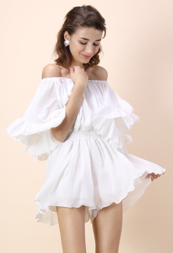 017d863d41c Frill Like Dancing Off-shoulder Playsuit in White  50 Chichwish ...
