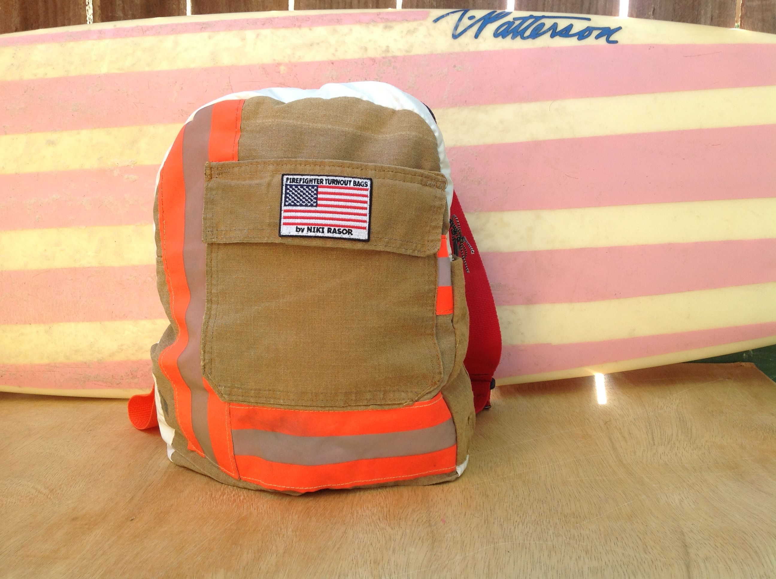 Recycled bunker gear bags - Made By Hand With Recycled Firefighter Bunker Gear This Backpack Has A Pocket Inside And