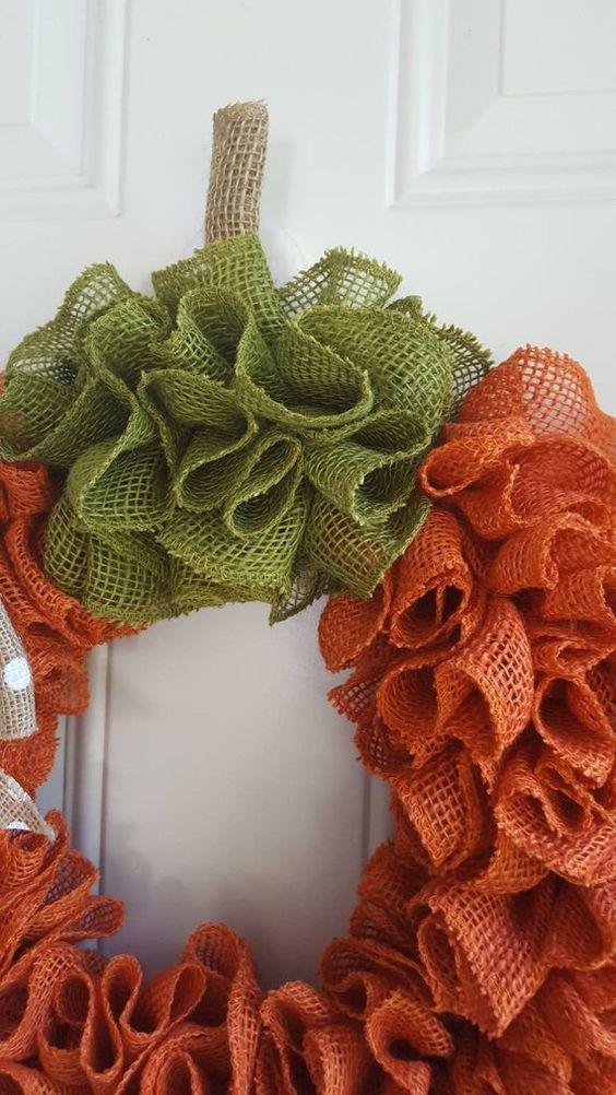Photo of Items similar to Pumpkin wreath burlap wreath fall wreath autumn wreath Halloween wreath Thanksgiving wreath burlap pumpkin wreath on Etsy