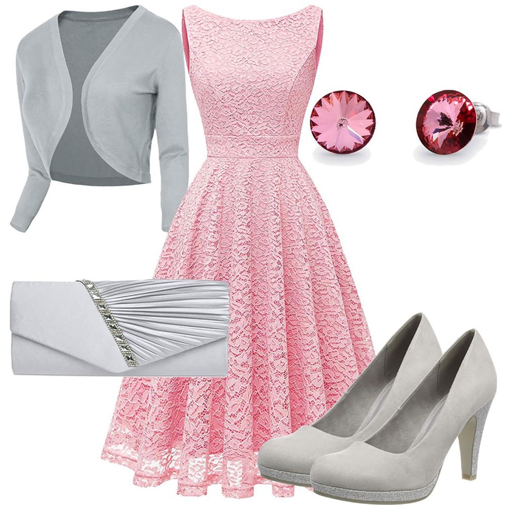 Grau Rosa Damenoutfit Mit Kleid Pumps Und Ohrringen In 2020 Outfit Kleider Mode