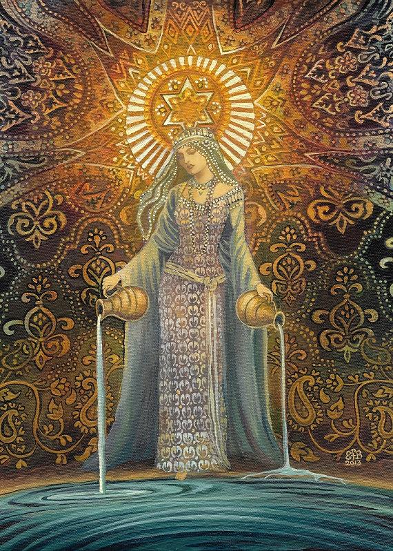 La Diosa Estrella De La Esperanza Tarot Mitologico Arte Aceo