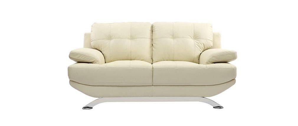 Sofá cuero diseño crema 2 plazas BUFFALO | sofas | Pinterest | Sofá ...
