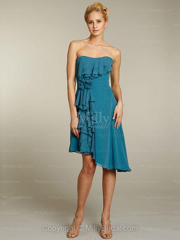 A-line Strapless Chiffon Asymmetrical Cascading Ruffles Bridesmaid Dresses