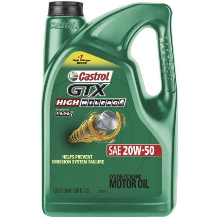 3 Pack) Castrol GTX High Mileage 20W-50 Synthetic Blend