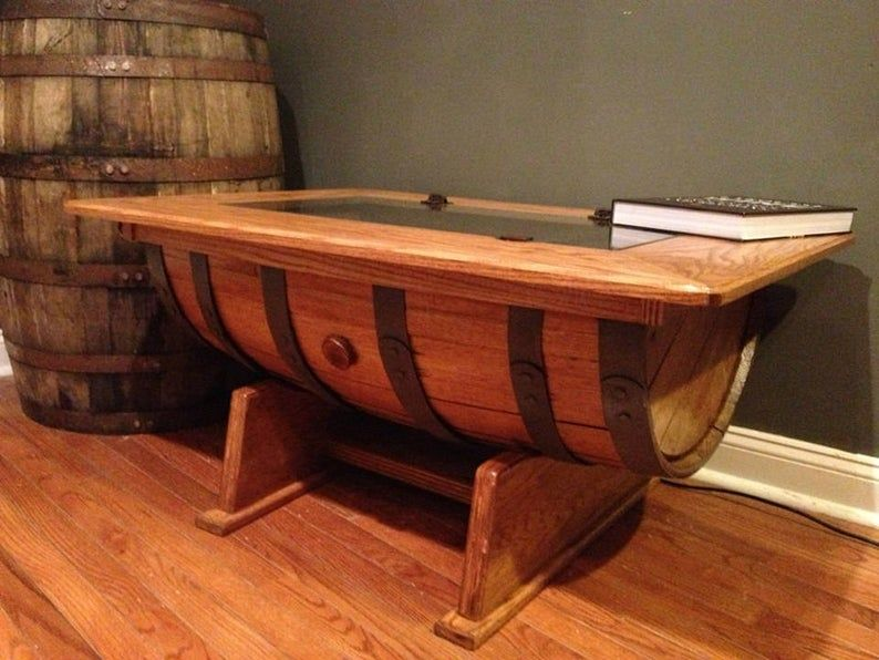 Whisky tonneau Table basse avec rangement bouteille   Etsy in 2020   Barrel coffee, Whiskey ...