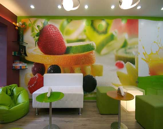 High Quality Juice And Smoothie Bar. Using Produce Photos As Wall Paper