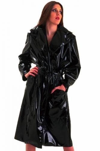 Lcobi01 Womens Sexy Black Gloss Pvc Trench Coat Coats